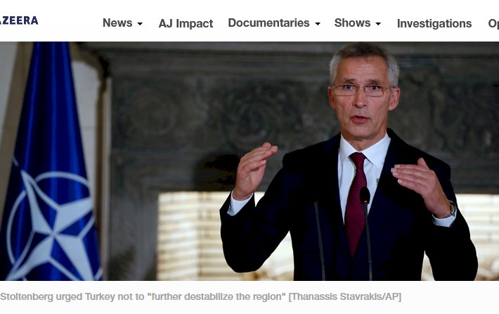 NATO Secretary General Jens Stoltenberg makes a statement during a press conference with Greece's Prime Minister Kyriakos Mitsotakis at Maximos Mansion in Athens, Thursday, Oct. 10, 2019. Stoltenberg