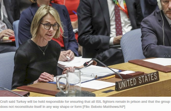 U.S. United Nations Ambassador Kelly Craft address the U.N. Security Council after a failed vote on a humanitarian draft resolution for Syria, Thursday Sept. 19, 2019 at U.N. headquarters. (AP Photo/B